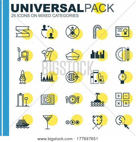 Set Of 25 Universal Editable Icons. Can Be Used For Web, Mobile And App Design. Includes Elements Such As Certificate, Song UI, Education Tools And More.