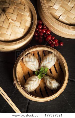Dim Sum dumplings. Chinese traditional food. Restaurant
