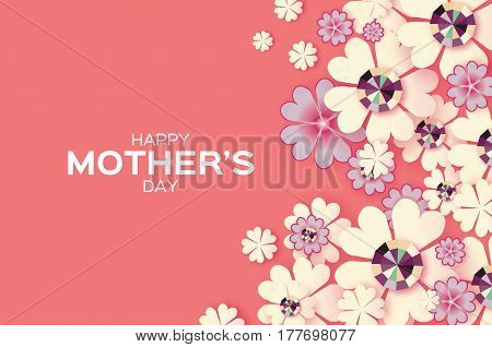 Flower Greeting card with Brilliant stones. Happy Mothers Day. International Women's Day with Paper cut Floral holiday. Beautiful bouquet. Space for text. Pink.Vector illustration.