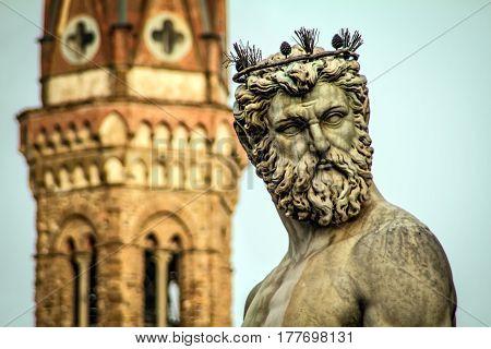 The statue of Neptune at Piazza della Signoria in Florence Italy.