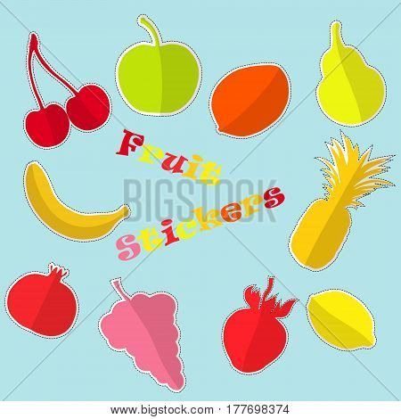 Set with Funny Fruit Stickers Made in Flat Style with Childish Layout. Vector EPS 10