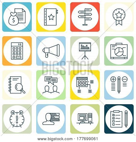 Set Of 16 Project Management Icons. Includes Present Badge, Presentation, Reminder And Other Symbols. Beautiful Design Elements.
