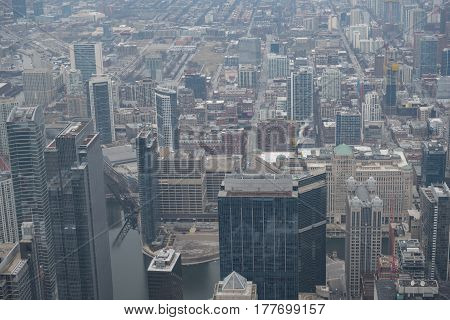 Top view of high-rising blocks situating in Chicago city, America