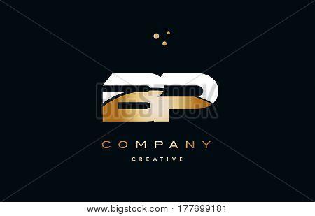 Bp B P  White Yellow Gold Golden Luxury Alphabet Letter Logo Icon Template