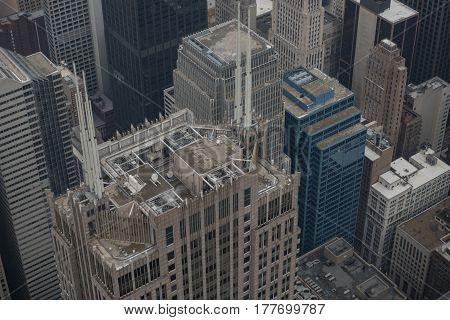 Top view of various tall houses with unusual roofs in Chicago, USA