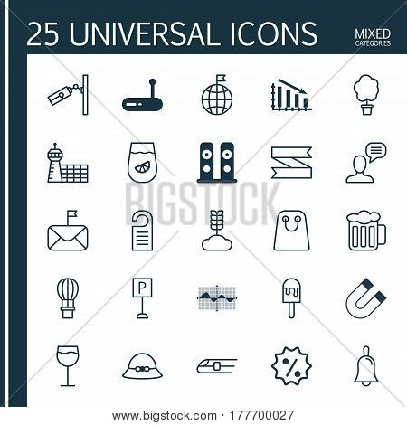 Set Of 25 Universal Editable Icons. Can Be Used For Web, Mobile And App Design. Includes Elements Such As Price, Travel Direction, Rebate Sign And More.