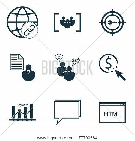 Set Of 9 Advertising Icons. Includes Search Optimization, Conference, Coding And Other Symbols. Beautiful Design Elements.