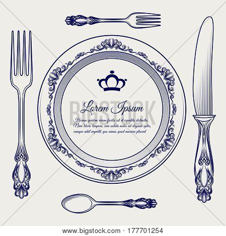 Dinner ready vector illustration with cutlery vintage set. Ball pen sketch of cutlery and royal plate frame