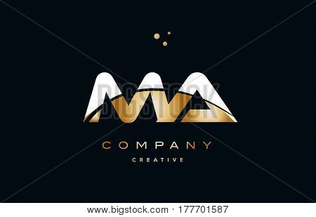 Ma M A  White Yellow Gold Golden Luxury Alphabet Letter Logo Icon Template
