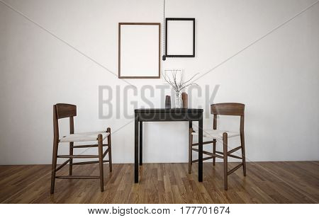 Simple stylish wooden wicker chairs in an interior decor mockup with two blank picture frames on the wall above a small table. 3d rendering.