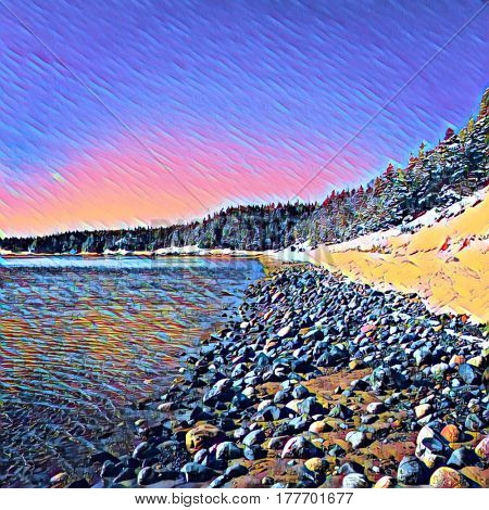 Digital painting - Sandy Cove Beach with Rocks