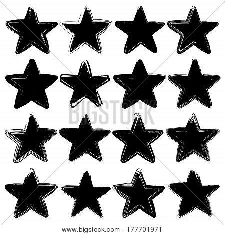 Set of sixteen grunge vector stars. Design element. Vintage star. Retro star.