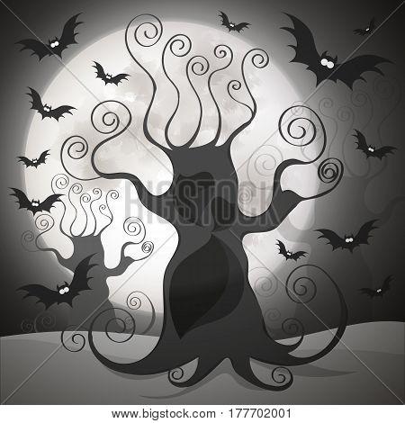 illustrations of spooky full moon night happy halloween