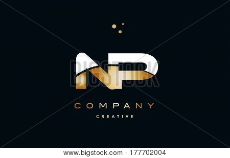 Np N P  White Yellow Gold Golden Luxury Alphabet Letter Logo Icon Template