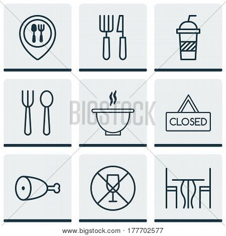Set Of 9 Eating Icons. Includes Food Mapping, Eating House, Dining Room And Other Symbols. Beautiful Design Elements.