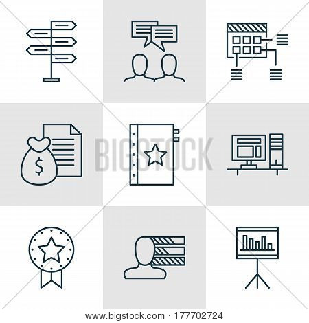 Set Of 9 Project Management Icons. Includes Discussion, Opportunity, Schedule And Other Symbols. Beautiful Design Elements.