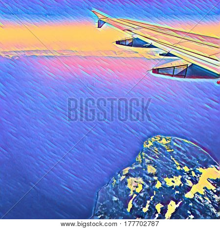 Digital Painting - Painting of view out Plane window