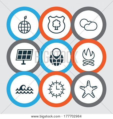 Set Of 9 Eco-Friendly Icons. Includes Sun Clock, World Ecology, Pin Earth And Other Symbols. Beautiful Design Elements.