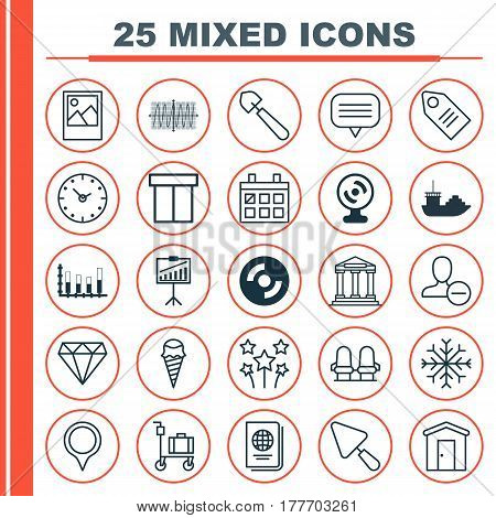 Set Of 25 Universal Editable Icons. Can Be Used For Web, Mobile And App Design. Includes Elements Such As Ticket, Suitcase Pushcart, Time And More.