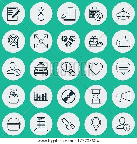 Set Of 25 Universal Editable Icons. Can Be Used For Web, Mobile And App Design. Includes Elements Such As Ban Person, Academy, Marker And More.