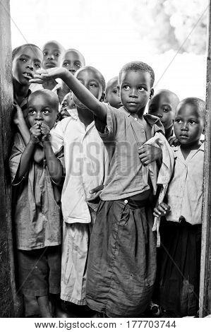 Mombasa. kenya. January 9 2012 African children ask for food