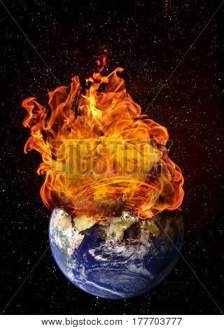 Planet Earth In Outer Space Engulfed In Flames