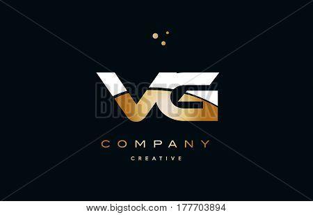 Vg V G  White Yellow Gold Golden Luxury Alphabet Letter Logo Icon Template