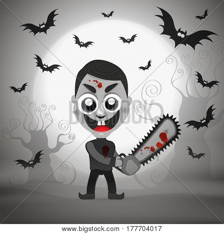 Vector illustration halloween serial killer with chainsaw