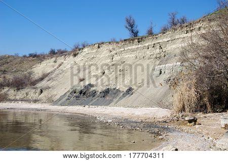sheer and peeling off rock ashore lake