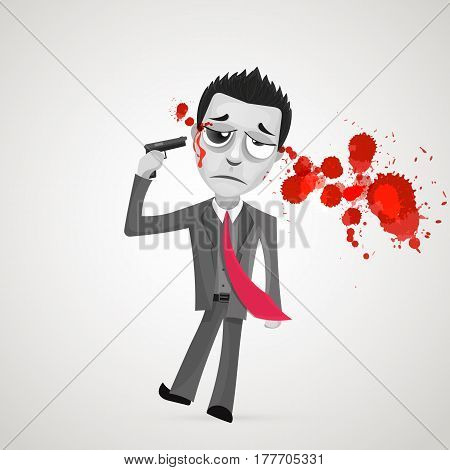 Depression boy. Vector flat cartoon vector illustration