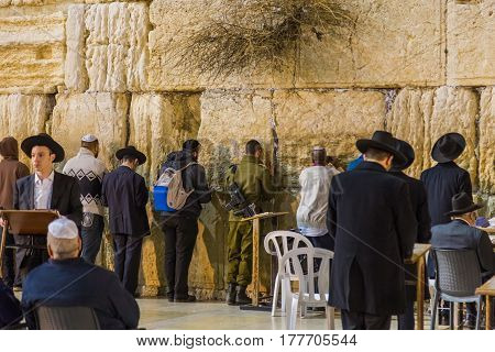 JERUSALEM ISRAEL - FEBRUARY 26 2017: The Western Wall in Jerusalem