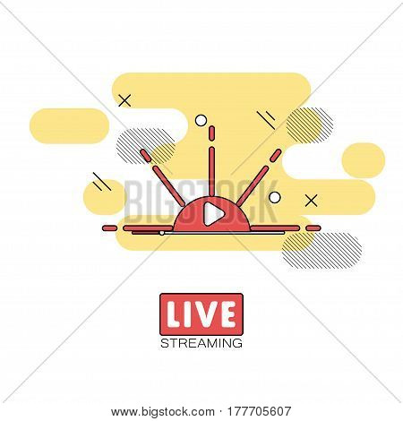 Live streaming concept. Stock vector illustration of broadcast on pause showing sunset or sunrise.