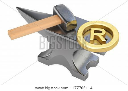 anvil with registered trademark sign 3D rendering isolated on white background