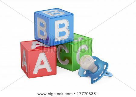 Education for baby concept abc cubes with pacifier. 3D rendering isolated on white background