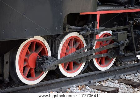 Small old vintage locomotive from the nineteenth century