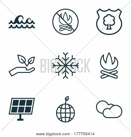 Set Of 9 Eco Icons. Includes Snow, Sun Power, Bonfire And Other Symbols. Beautiful Design Elements.