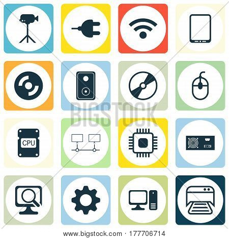 Set Of 16 Computer Hardware Icons. Includes Laptop, Cd-Rom, Power Generator And Other Symbols. Beautiful Design Elements.