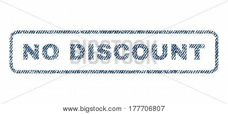 No Discount text textile seal stamp watermark. Blue jeans fabric vectorized texture. Vector tag inside rounded rectangular shape. Rubber emblem with fiber textile structure.