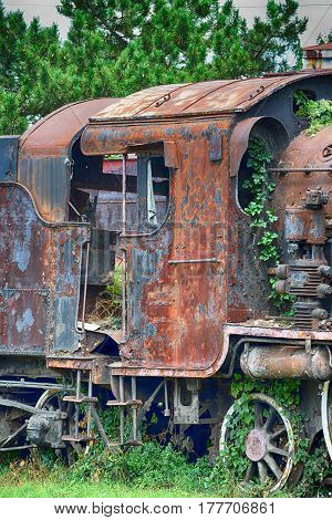 abandoned vintage locomotive cab ride in the last century