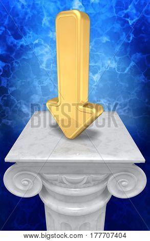 Arrow Down On A Column 3D Illustration