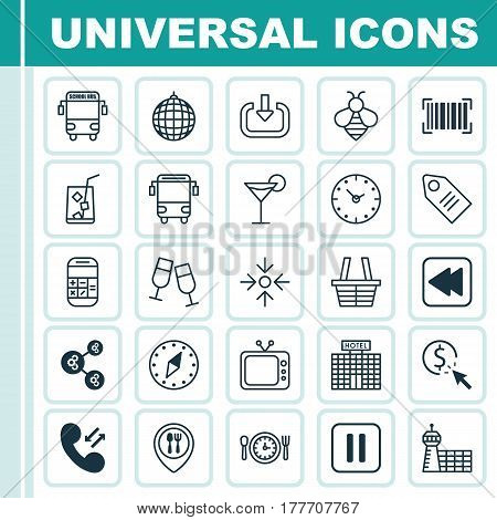 Set Of 25 Universal Editable Icons. Can Be Used For Web, Mobile And App Design. Includes Elements Such As Cellular Data, Ticket, College Transport And More.