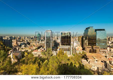 Skyline of buildings of downtown Santiago de Chile