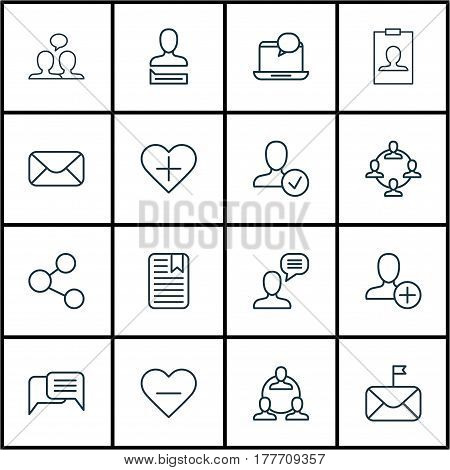 Set Of 16 Communication Icons. Includes Significant Letter, Talking Person, Confirm Profile And Other Symbols. Beautiful Design Elements.