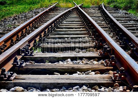 close-up of railroad tracks with wooden and metal parts