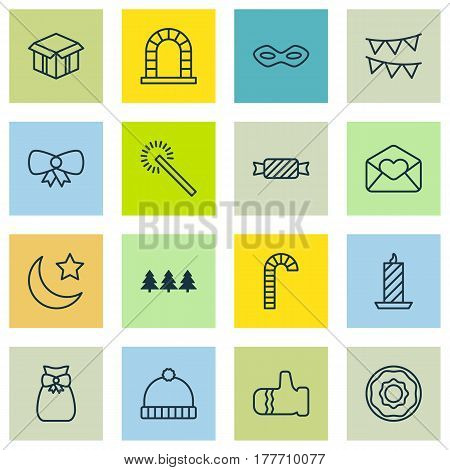 Set Of 16 Celebration Icons. Includes Knitted Cap, Sweet, Open Cardboard And Other Symbols. Beautiful Design Elements.