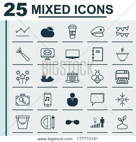 Set Of 25 Universal Editable Icons. Can Be Used For Web, Mobile And App Design. Includes Elements Such As Baggage Research, Conference, Festive Fireworks And More.