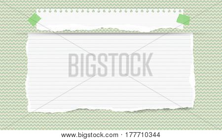 Pieces of torn white blank and ruled note, copybook, notebook strip, sheet inserted into waved green cut paper pattern.