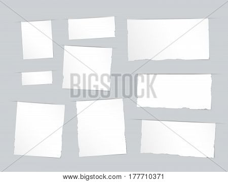 Pieces of torn white blank, note, copybook, notebook strips, sheets inserted into gray cut paper.
