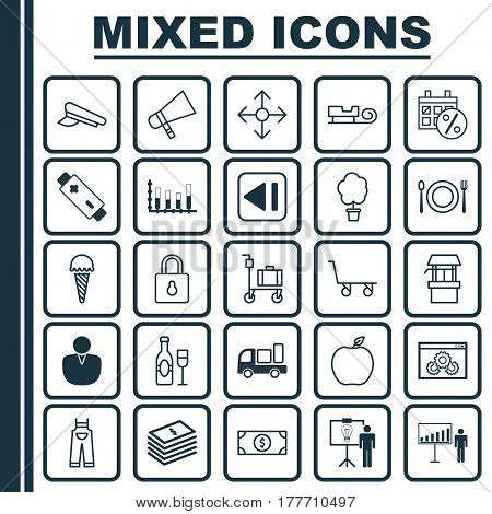 Set Of 25 Universal Editable Icons. Can Be Used For Web, Mobile And App Design. Includes Elements Such As Account, Cop Cap, Delivery And More.
