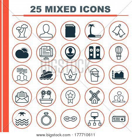 Set Of 25 Universal Editable Icons. Can Be Used For Web, Mobile And App Design. Includes Elements Such As Oak, Present Badge, Memory Card And More.